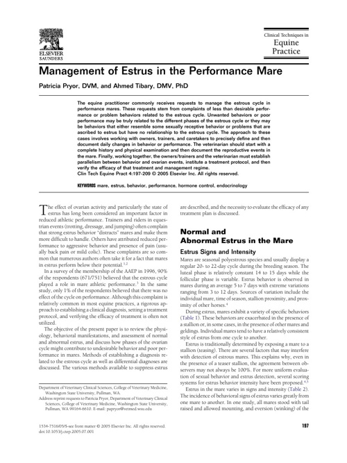 Management of Estrus in the Performance Mare
