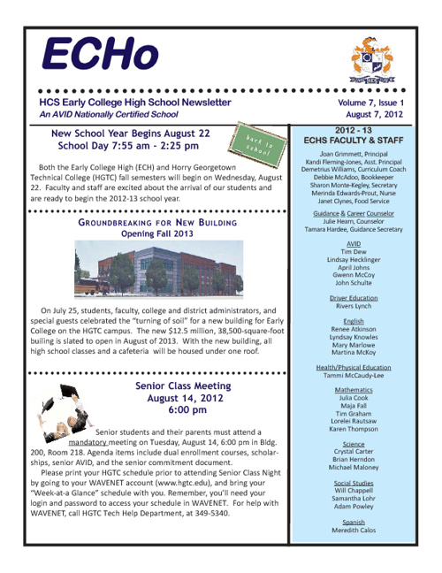 ECHS August Newsletter - 2012
