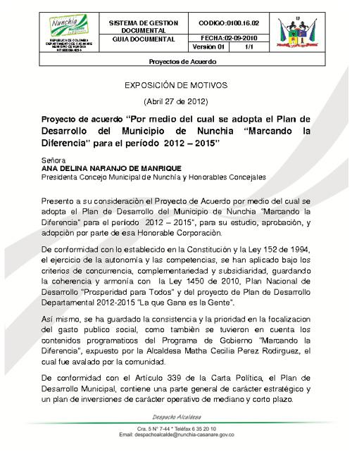 """Proyecto PLAN DE DESARROLLO """"MARCANDO LA DIFERENCIA"""" 2012 - 2015"""