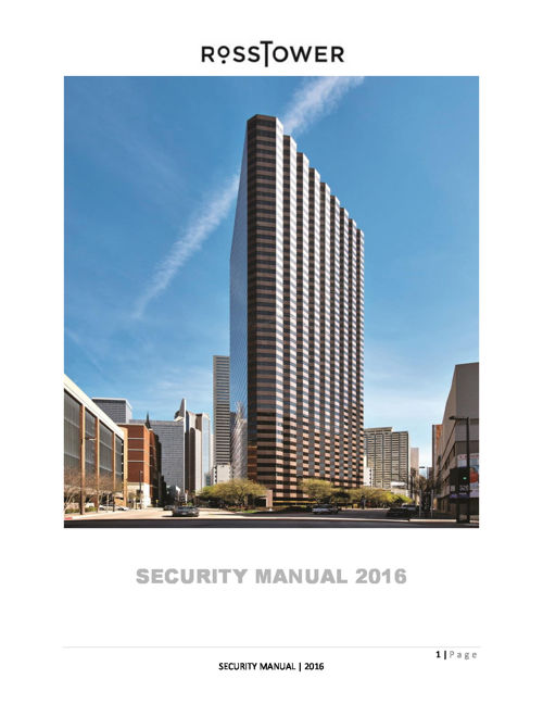 Ross Tower 2016 Security Manual