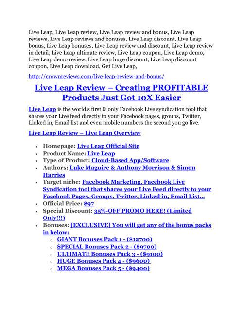 Live Leap review - EXCLUSIVE bonus of Live Leap
