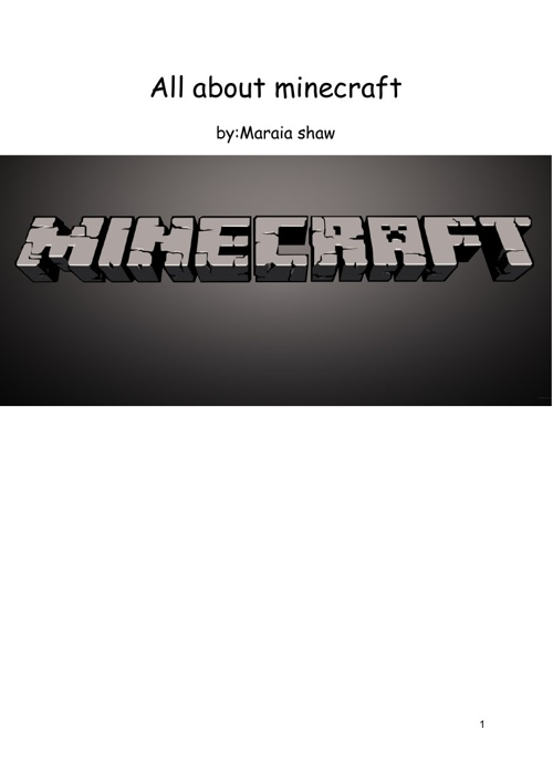 Copy of all about minecraft