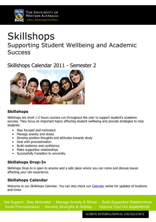 Skillshops Calendar Semester 2 - 2011