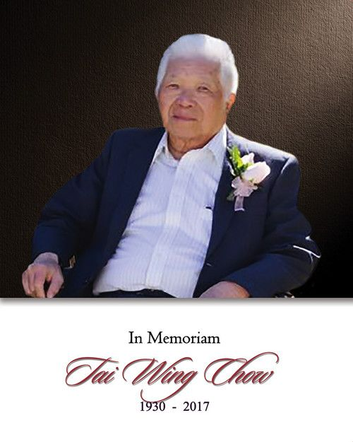 Memorial Card for Tai Wing Chow