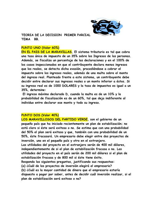 TEORIA DE LA DECISION  PRIMER PARCIALL