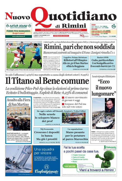 Nuovo Quotidiano di Rimini del 12 novembre 2012