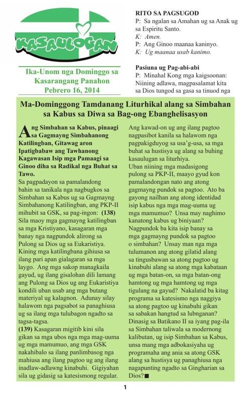 Kasaulugan Missalette - Cebuano
