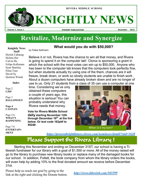Knightly News Vol.1 Issue1