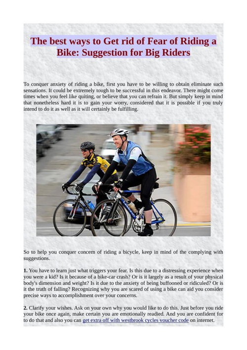 The best ways to Get rid of Fear of Riding a Bike: Suggestion fo