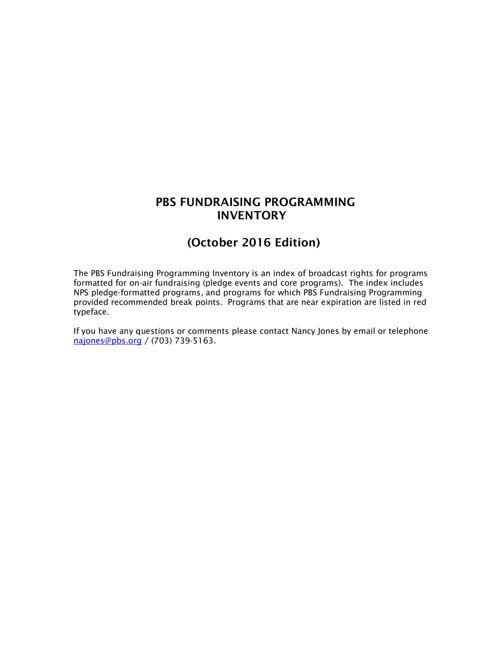 October  2016 Program Inventory
