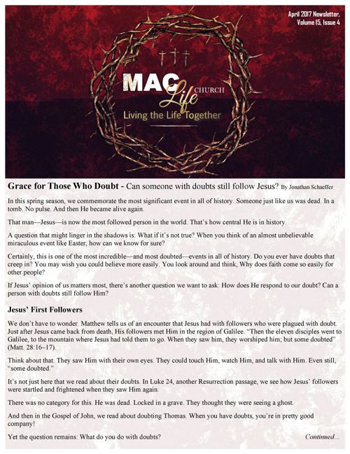 April 2017 MAC Newsletter