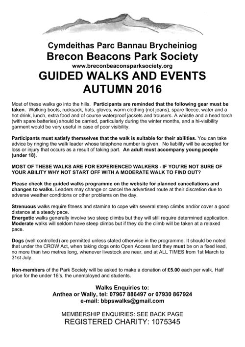 Guided Walks and Events Autumn 2016