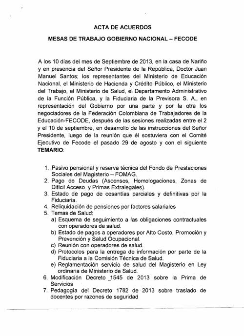 ACTA DE ACUERDOS FECODE