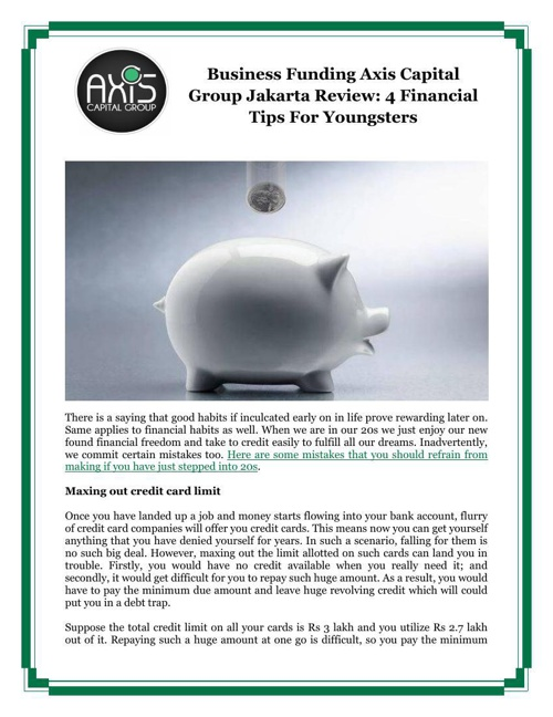 Business Funding Axis Capital Group Jakarta Review: 4 Financial