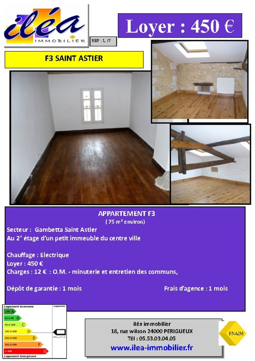 Appartement F3 en location ILEA immobilier Périgueux