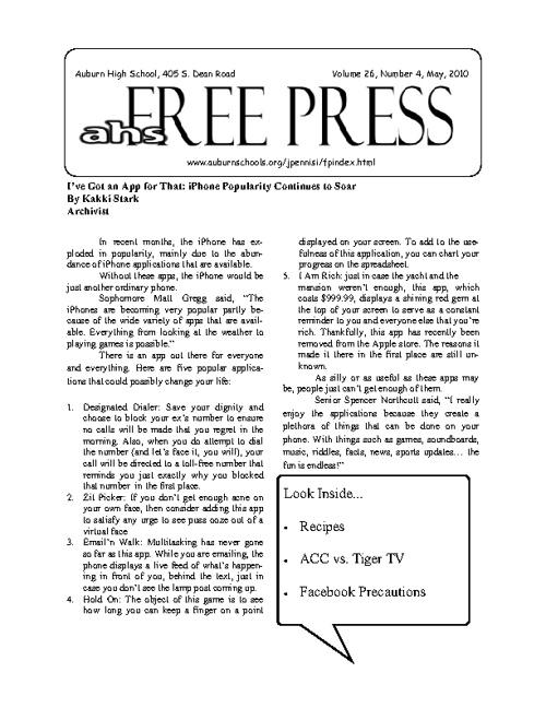 AHS Free Press-April 2011