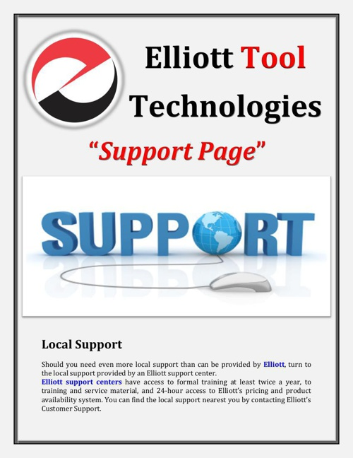 Elliott Tool Support Page