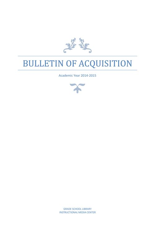 GS Library Bulletin of Acquisition 14-15