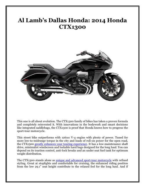 Al Lamb's Dallas Honda: 2014 Honda CTX1300
