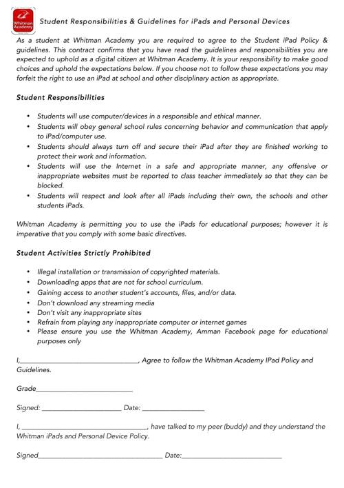 Whitman Academy IPad Policy