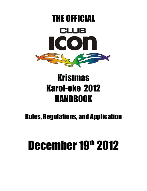 Club ICON Kristmas Karol-oke Contest 2012