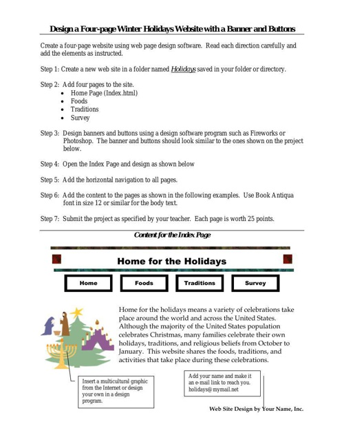 Design a Four-page Winter Holiday Web Site