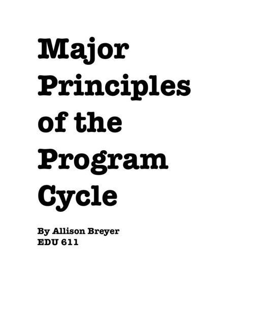 EDU611 Program Cycle 1