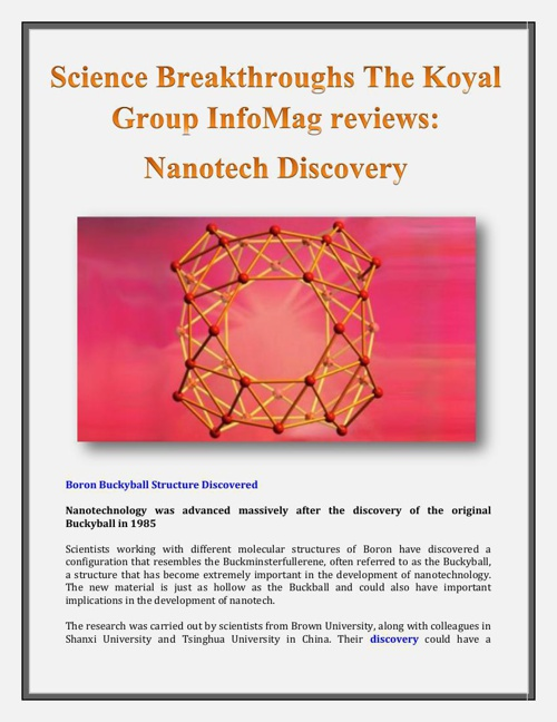 Science Breakthroughs The Koyal Group InfoMag reviews: Nanotech