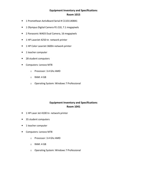 List of Equipment and Computer Specifications