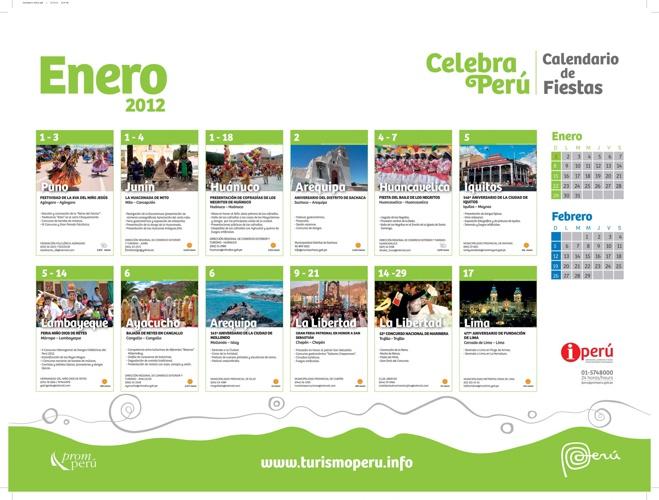 Calendario de Fiestas de Enero 2012 - PromPerú