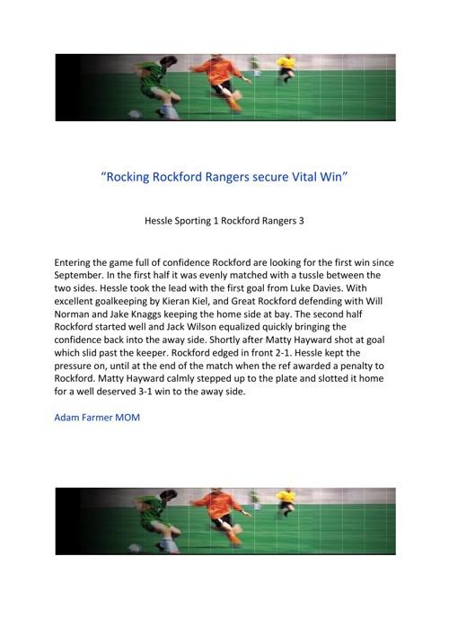 Rangers U13s v Hessle Sporting