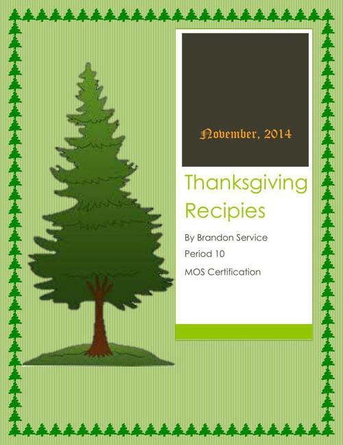 Thanksgiving Recipie Book