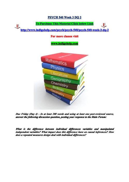 PSYCH 540 Week 3 DQ 2
