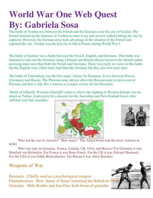 WW1 Webquest
