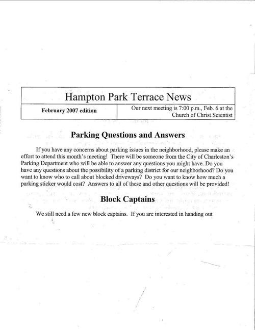 HPT Newsletter February 2007