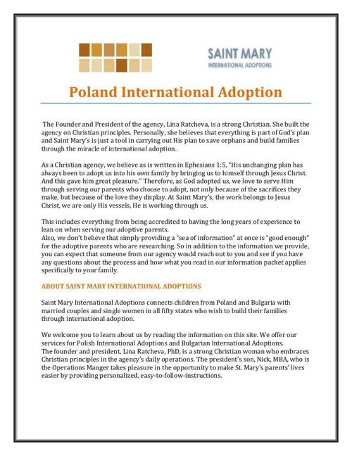 International Adoption – Poland