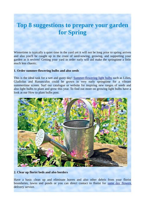 Top 8 suggestions to prepare your garden for Spring