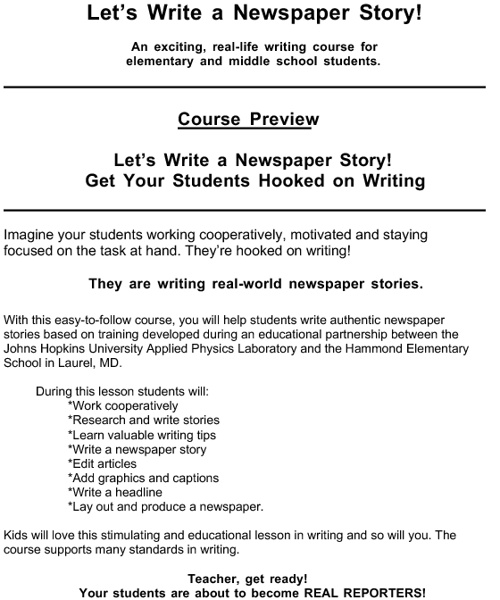 Writing a newspaper story.