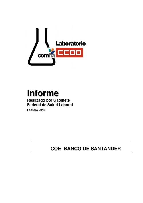 Informe laboratorio para COE BANCO SANTANDER 2013