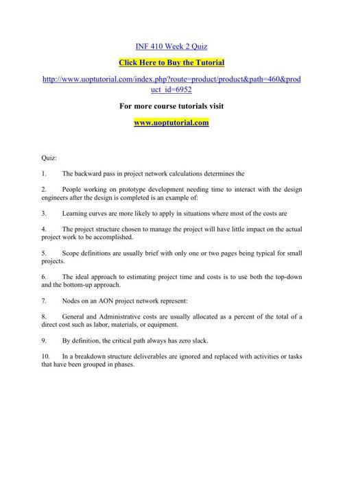 INF 410 Week 2 Quiz