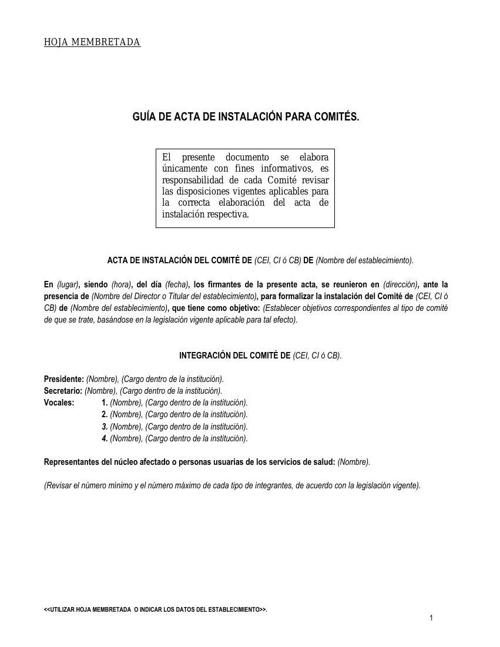 GUIA DE ACTA DE INSTALACION PARA COMITES