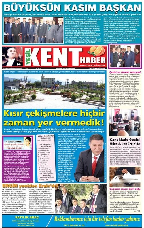 Yeşilkent Haber Gazetesi - Sayı 86