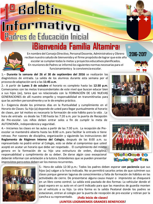 Boletín Informativo Septiembre 2016