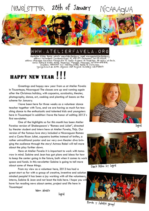 Newsletter January 2013 Atelier Favela