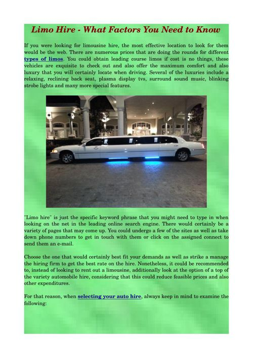 Limo Hire - What Factors You Need to Know