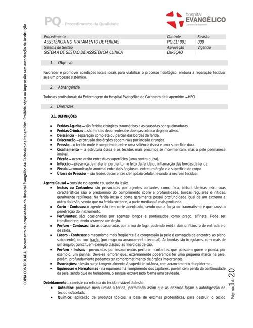 PQ CLI 001 - Assistência no tratamento de feridas