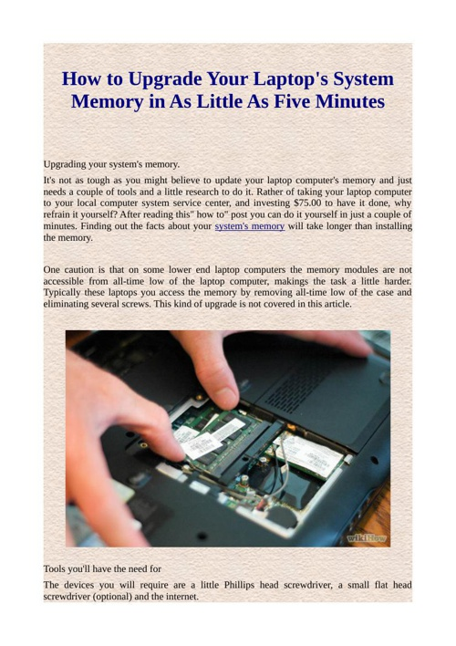 How to Upgrade Your Laptop's System Memory in As Little As Five