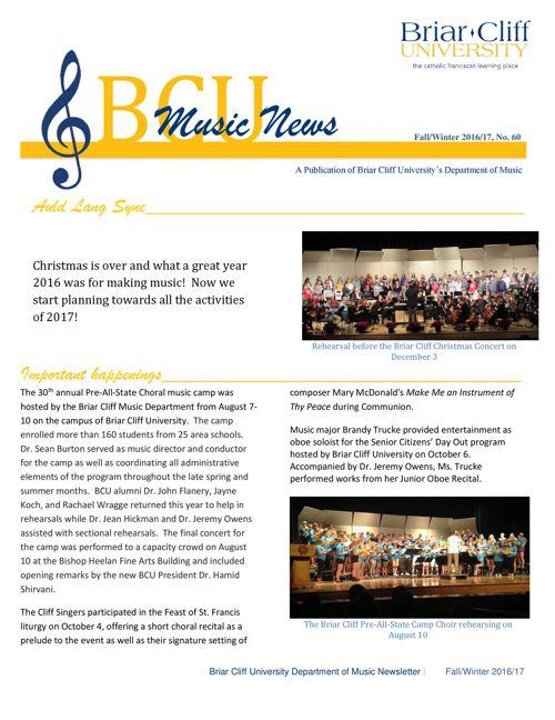 Department of Music Newsletter