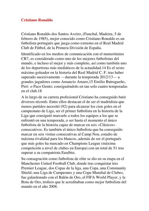 Investigacíon de Cristiano Ronaldo