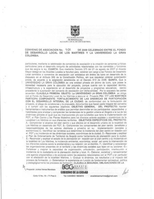 CONTRATO FONDO DESARRROLLO LOCAL MARTIRES CONVENIO 101 PROYECTO